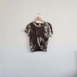Gaze Forest Green Front Twist Tie-Dye Blouse